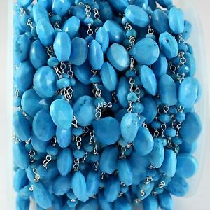 5 Ft Turquoise Wire Wrapped Briolette Rosary Beaded Chain 925 Sterling Silver