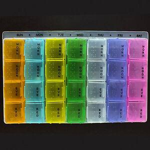 7 Day Mélange Couleur Boîte à Pilules Tablette Médicament Support Distributeur