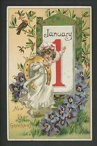 New-Year-postcard-Tuck-600-Horseshoe-Jan1-Bird-Berries-Embossed-1909-vintage