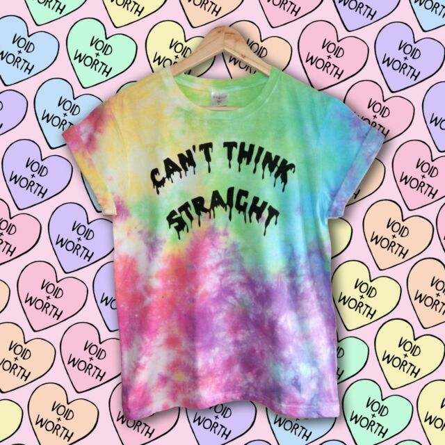 Rainbow Tie-Dye 'Can't Think Straight' Hand Made Tumblr Gay Pride LGBT T-shirt