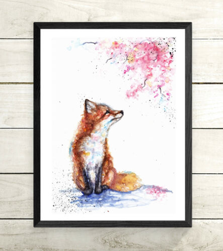 Gift Sale,Original Watercolour Wildlife,Animal,Art, Card Fox,Blossom Print