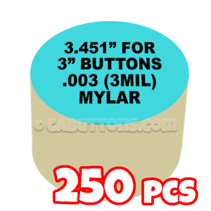 "3/"" Tecre Mylars Clear Plastic Cover for Button Maker Badge Machine Press 250 pcs"