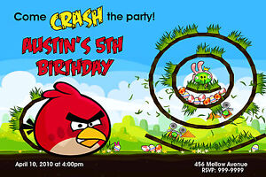 Details About Angry Birds Birthday Invitations U Print 24hr Service 4x6 Or 5x7