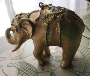 Details About Gold Elephant Statue Figurines Or Christmas Ornaments New