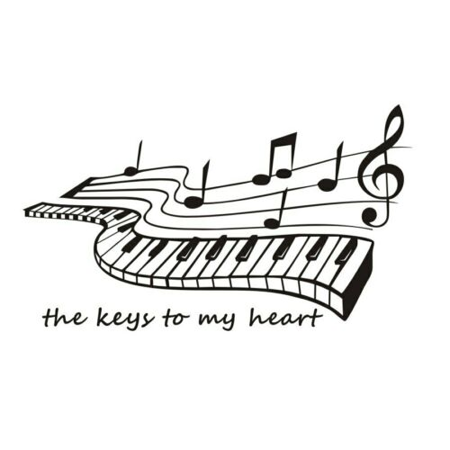The Keys To My Heart Piano Wall Stickers Music Home Decor Living Room