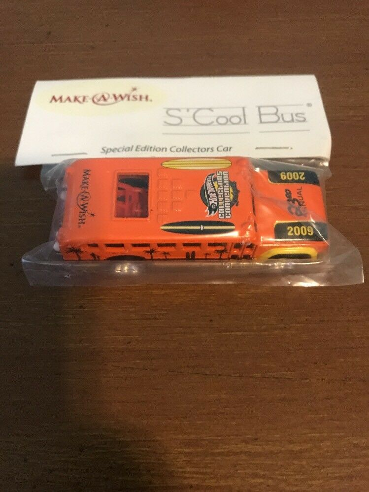 2009 Hot Wheels 23rd Collectors Convention orange S'Cool Bus Make A Wish