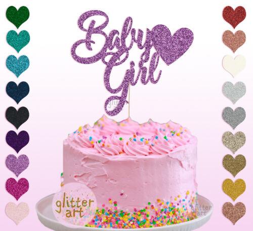 Bébé Fille Nouveau Né Heart cake topper enfant Bridal Shower Party Occasion Or 1st