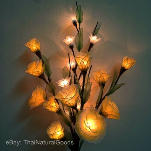 Night Light Wedding Lighting Yellow Rose Artificial Flowers Lamp