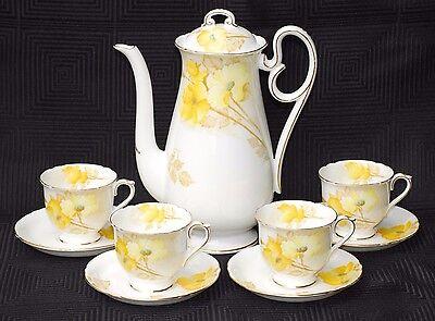 Shelley Cambridge or Court Shape Coffee Pot Set & 4 Ascot Shape Duos Yellow Rose