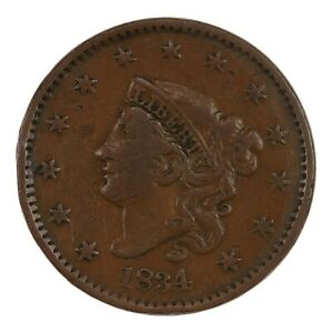 Raw-1834-Coronet-Head-1C-Large-8-N-3-US-Copper-Large-Cent-Coin
