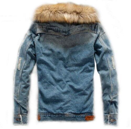 Men Fur Collar Coat Lined Fleece Jackets Jeans Denim Winter Coats Cowboy Outwear