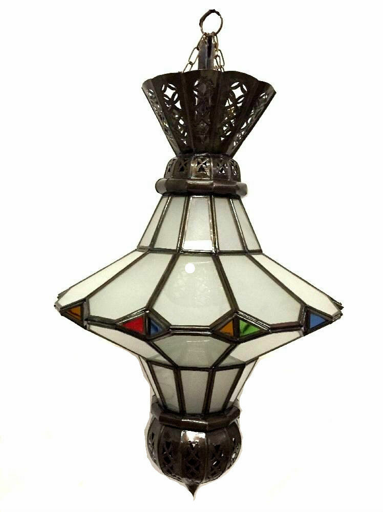 MGoldccan Hanging Pendant Lantern Carved Bronze Frosted & Stained Glass Lamp