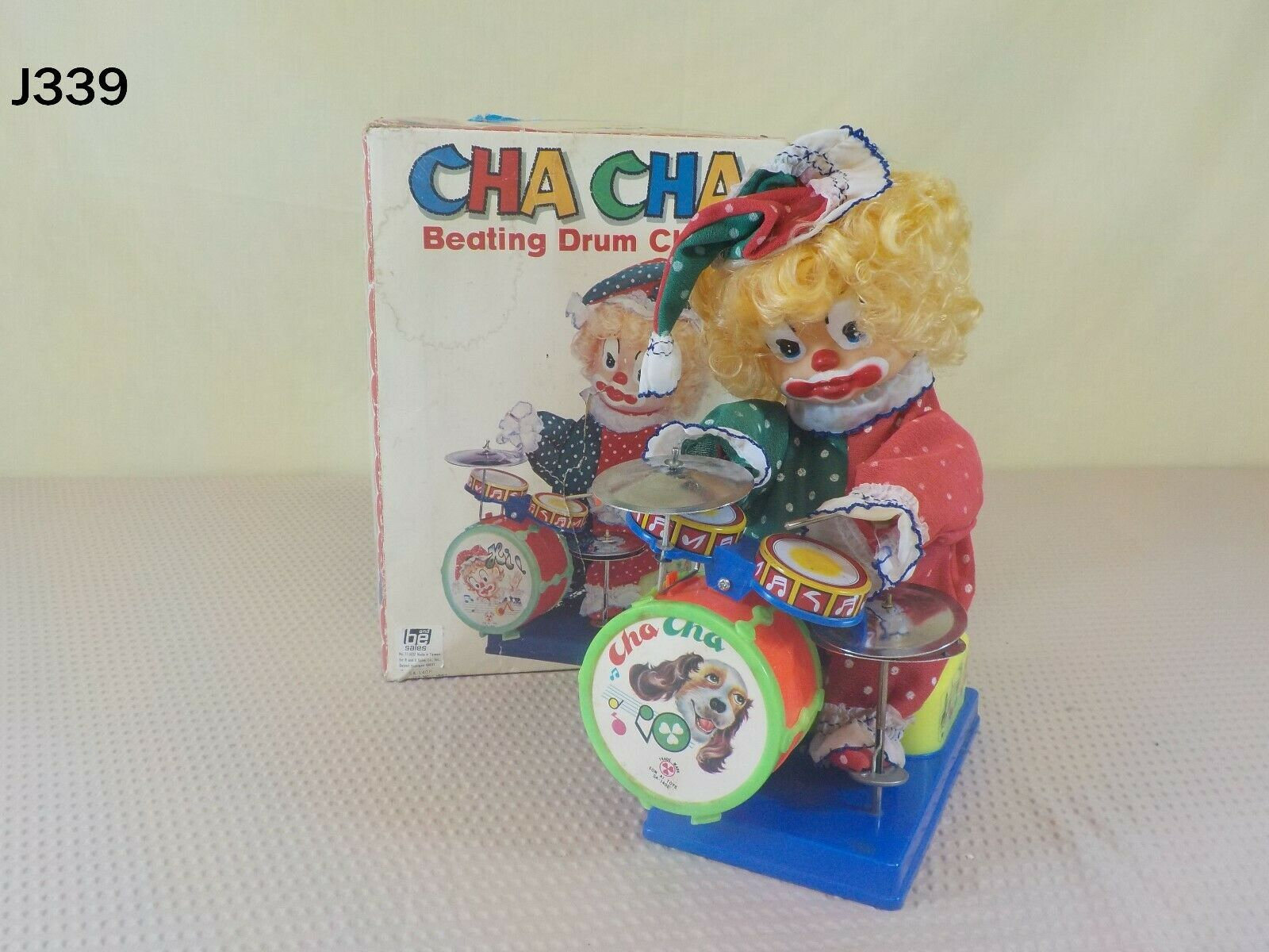 VINTAGE CHA CHA THE CLOWN TIN DRUMMER TOY SON A1 TAIWAN BATTERY OPERATED BOX