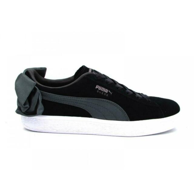 Womens Puma Suede Bow Black Trainers