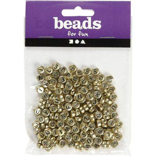 Round Golden Colour Plastic Letter Beads Jewellery Making Supplies Crafts D 7mm