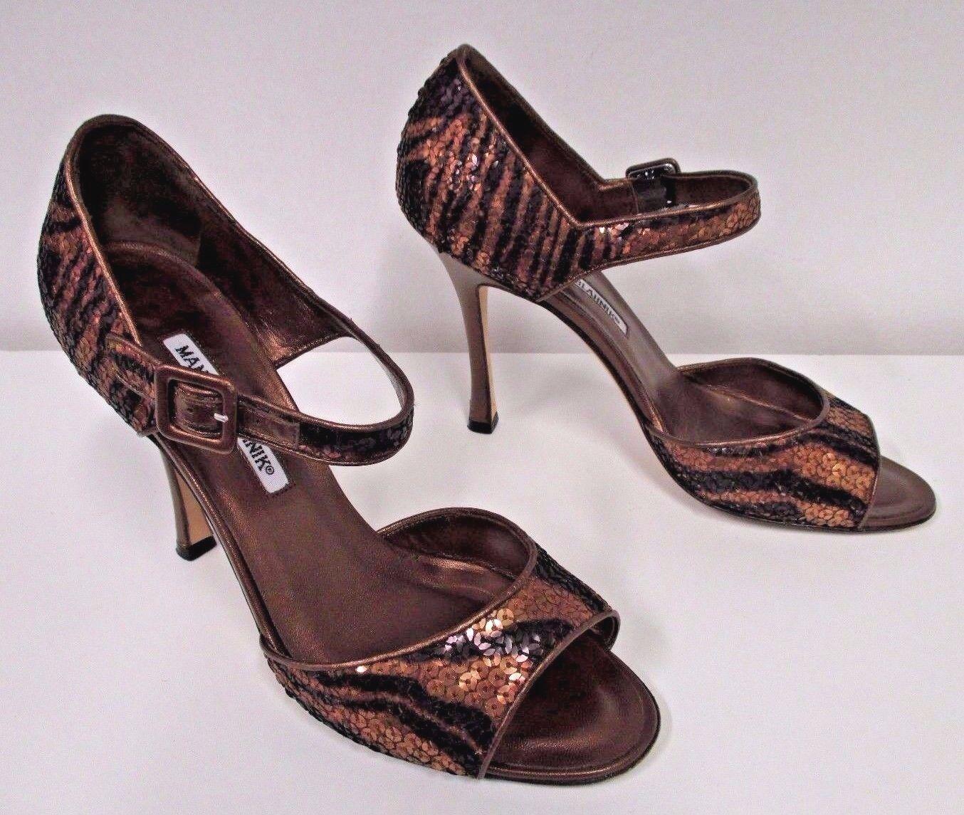 MANOLO BLAHNIK Bronze & Brown Metallic Sequin Open Toe Mary Jane Heels Size 38.5