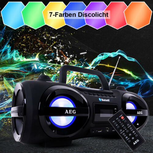 Stereoanlage Ghettoblaster Boombox Radio CD MP3 USB SD AUX Bluetooth Party Licht