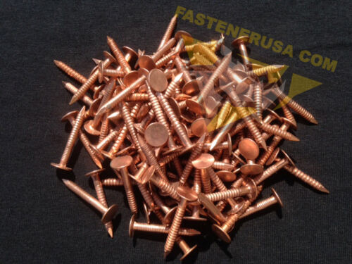 "1 1//4/"" Annular Ring Shank Copper Roofing Nails 10 gauge 3//4lb approx. 110 pcs"