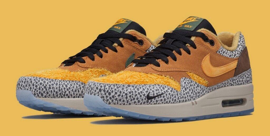 Nike x Atmos Air Max 1 Premium QS 'Safari' Flax Kumquat Chestnut 655873-200 Wild casual shoes