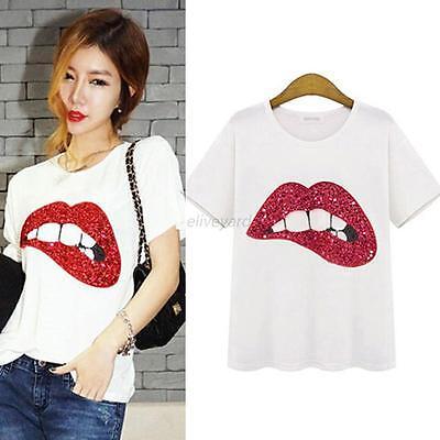 Women Crewneck Sequin Lips Print Shirts Blouse Short Sleeve Tops Shirt M L XL