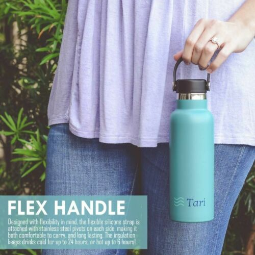TARI Stainless Steel Bottle Wide Mouth Leakproof Flex Cap Insulated 18.5 Oz Teal