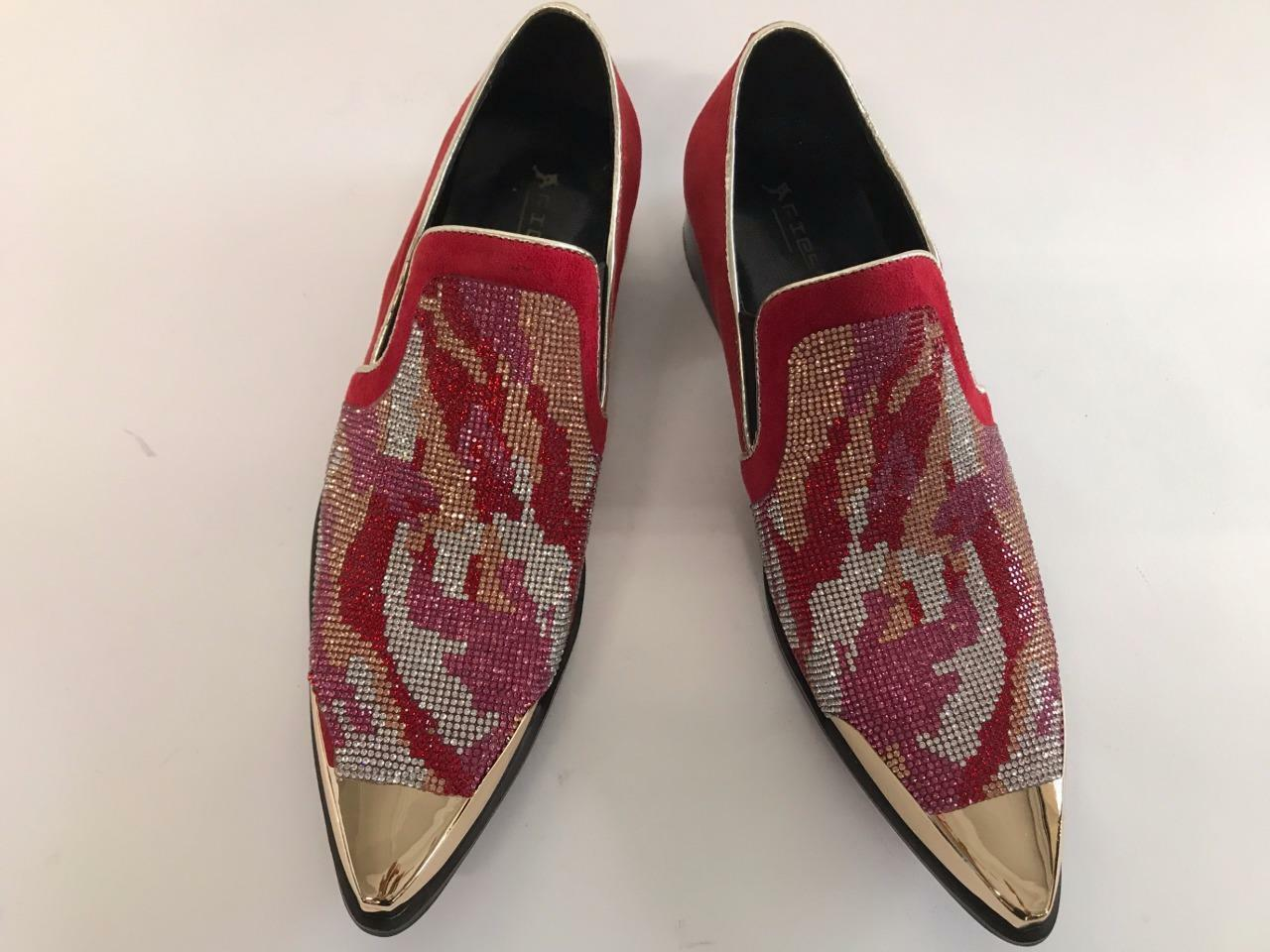 Men's Fiesso Suede Red Gold Shoes Silver Gold Rhinestones Gold Red Metal Tip FI 7089-2 62438f
