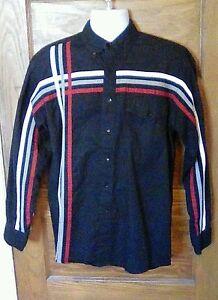 EUC-Wrangler-Western-Shirt-Medium-100-Cotton-Black-w-white-red-gray-Free-Ship