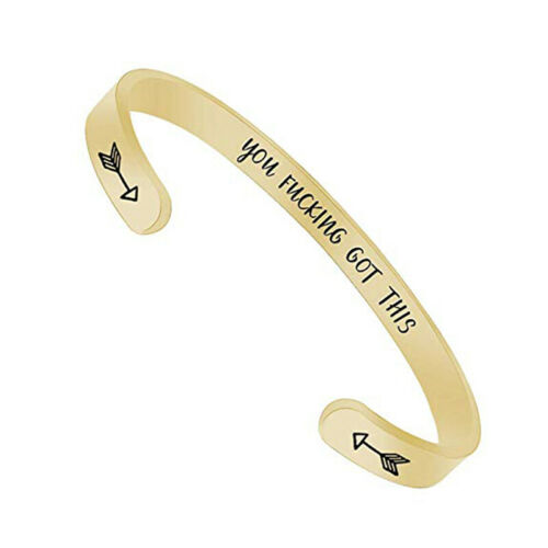 Women Stainless Steel Engraved Inspirational Letters Cuff Bangle Bracelet 6A
