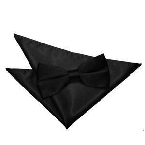 DQT-Mens-Bow-Tie-amp-Hanky-Set-Satin-Plain-Solid-Black-Wedding-Pre-Tied-Necktie