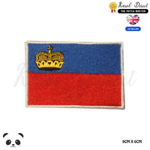 LIECHTENSTEIN-National-Flag-Embroidered-Iron-On-Sew-On-Patch-Badge-For-Clothes