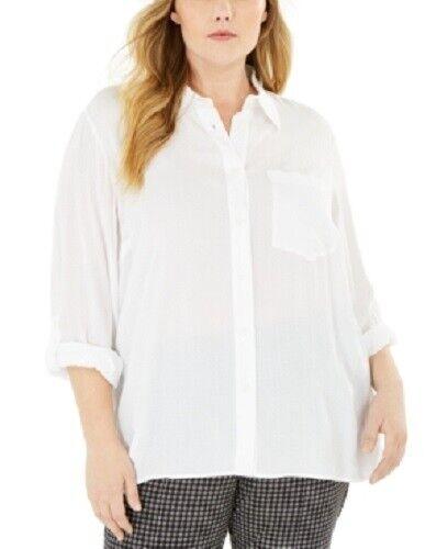 Michael Michael Kors Women's 2x Plus Size Textured Tunic Shirt, White, $84, NwT