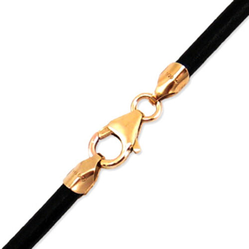 """3mm Black Round Leather Cord Necklace Choker 14K Gold Filled Clasp 14/"""" 36/"""" NYC"""