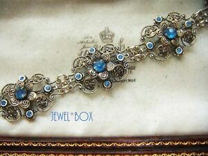 ANTIQUE-ART-DECO-BOHEMIAN-CZECH-Filigree-Blue-PASTE-CRYSTAL-Vintage-BRACELET
