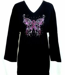 63d561df993 PLUS 3X 3 4 Sleeve Top Rhinestone Breast Cancer Pink Ribbon ...
