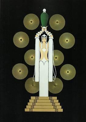 "Original Vintage Erte Art Deco Print ""Emerald Vase II"" Fashion Book Plate"