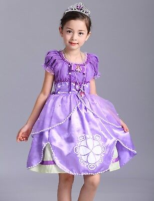 Kids Christmas Gifts Sofia The First Costume Girls Princess Gown Fancy Dress O62