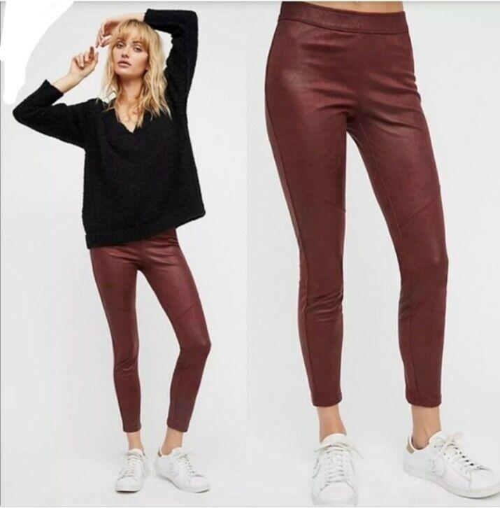 Free People Vegan Suede Legging Burgundy Pants Size 28