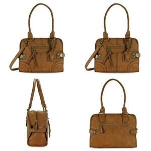Leather Bag Vintage Women Handbag Shoulder Messenger Purse Satchel Tote Pu Brown