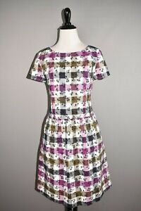 BROOKS-BROTHERS-RED-FLEECE-NEW-158-Floral-Gingham-A-line-Dress-Size-8
