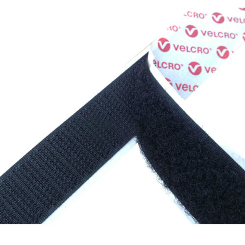 VELCRObrand PS14 100mm Self Adhesive Sticky Back Tape Strip HookLoop Black 25m