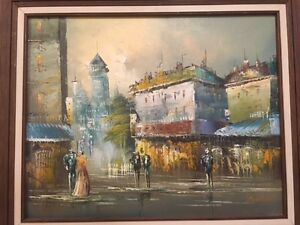 Art-OIL-On-Canvas-Painting-MORGAN-Signed-Original-Framed-City-Scape