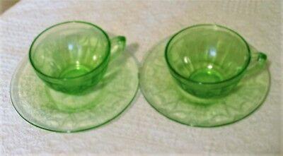 2 SETS ANCHOR HOCKING GREEN CAMEO BALLERINA TEA COFFEE CUP SAUCER VASELINE GLASS