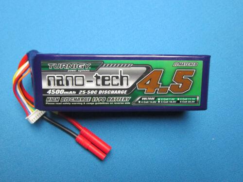 TURNIGY NANO-TECH 4500mAh 6S 22.2V 25C 50C LIPO BATTERY HXT 4MM XT90 EC5 DEANS T
