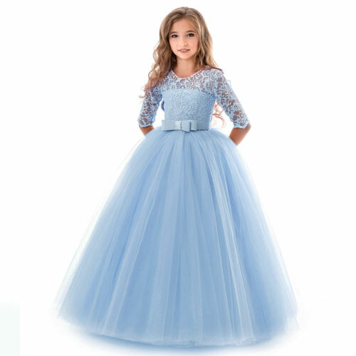 Flower Girl Dress Princess Party Wedding Bridesmaid Formal Gown Kid Long Dress*