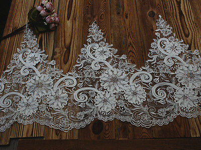 """7.48/""""*1Y Ivory Sequined and Beaded Alencon Lace Trim,Corded Lace Trim for Bridal"""
