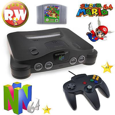 N64 / Nintendo 64 Konsole 1x Controller Black Neu + alle Kabel + Super Mario 64