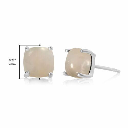 Details about  /7mm Cushion Moonstone Cabochon Stud Earrings White Rhodium 925 Sterling Silver
