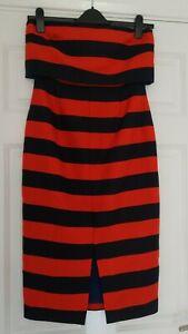 Lavish-Alice-Red-Stripe-Print-Bandeau-Cropped-Midi-Off-Shoulder-Dress-UK-Size-12