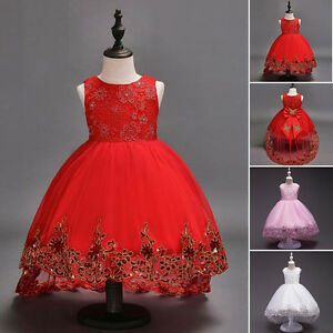 Nino-amp-Bebe-Floral-Nina-Lazo-Vestido-Princesa-Para-Fiesta-Boda-Dama-De-Honor
