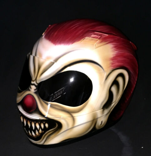 Airbrush Clown Motorcycle Helmet Crazy Mad Scary Custom Helmet Naughty Killer